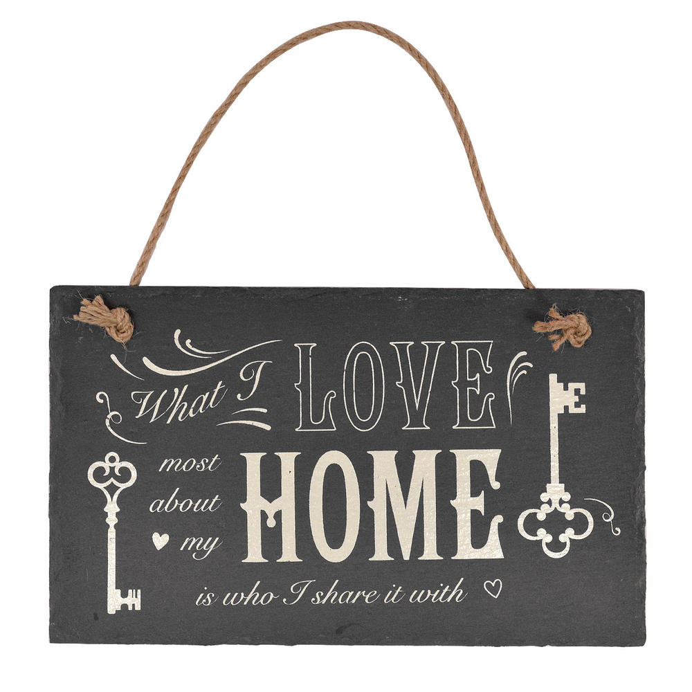 Love My Home Hanging Slate Plaque Sign Gift