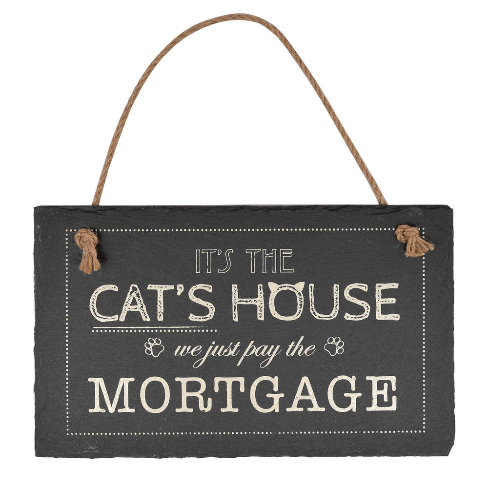 It's The Cat's House Hanging Slate Plaque Sign Gift