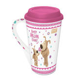 Boofle Best Mum Travel Mug With Pink Silicone Lid & Handle