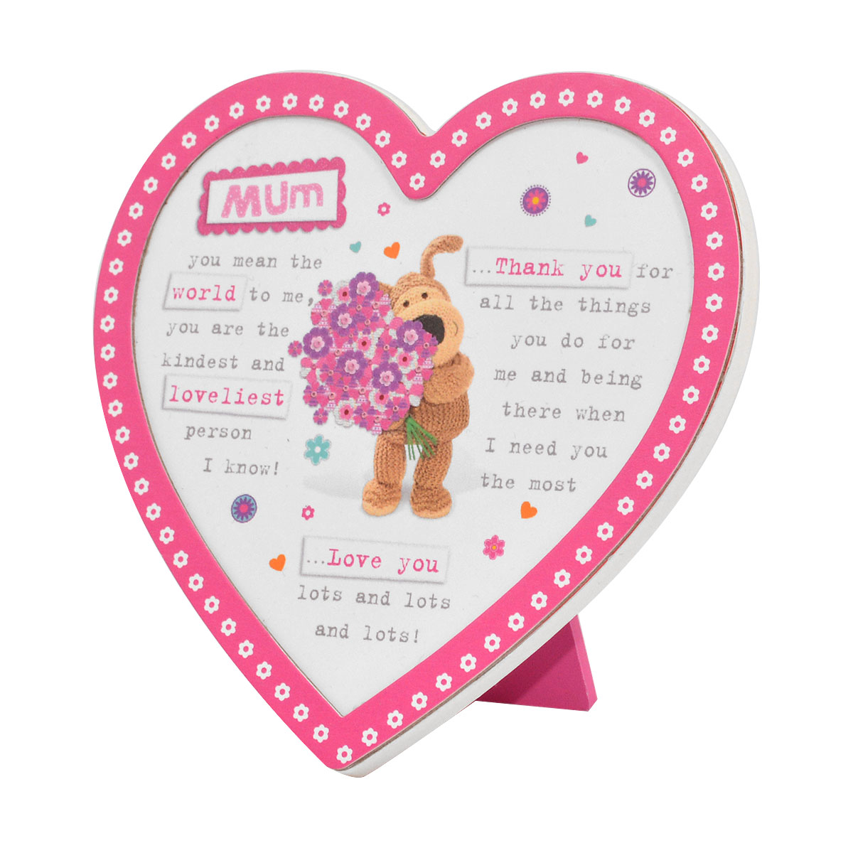 Boofle Wooden Heart Shaped Mum Poem Plaque | Gifts | Love Kates