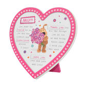 Boofle Wooden Heart Shaped Mum Poem Plaque