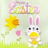Bunny Happy Easter Greeting Card