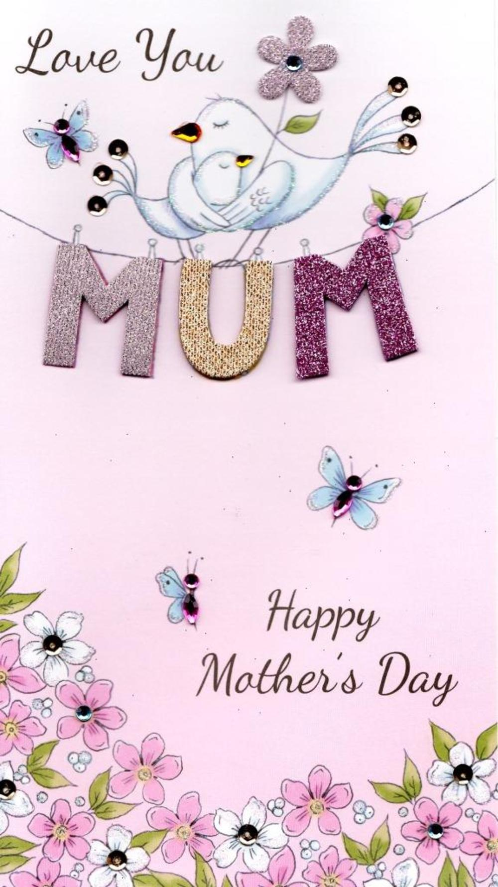 Love You Mum Champagne Mother's Day Card