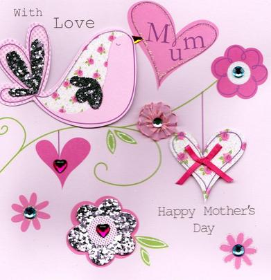 """With Love Mum 8"""" Square Happy Mother's Day Card"""