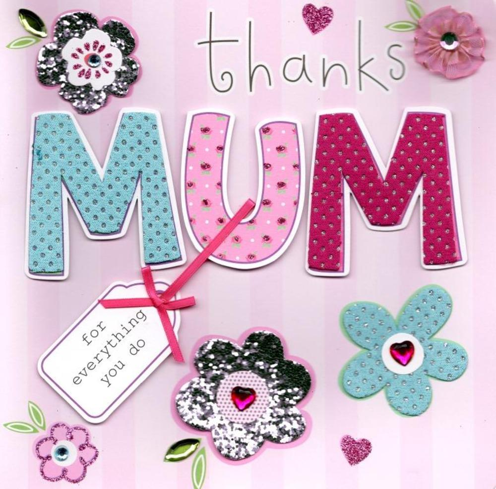 "Thanks Mum 8"" Square Happy Mother's Day Card"