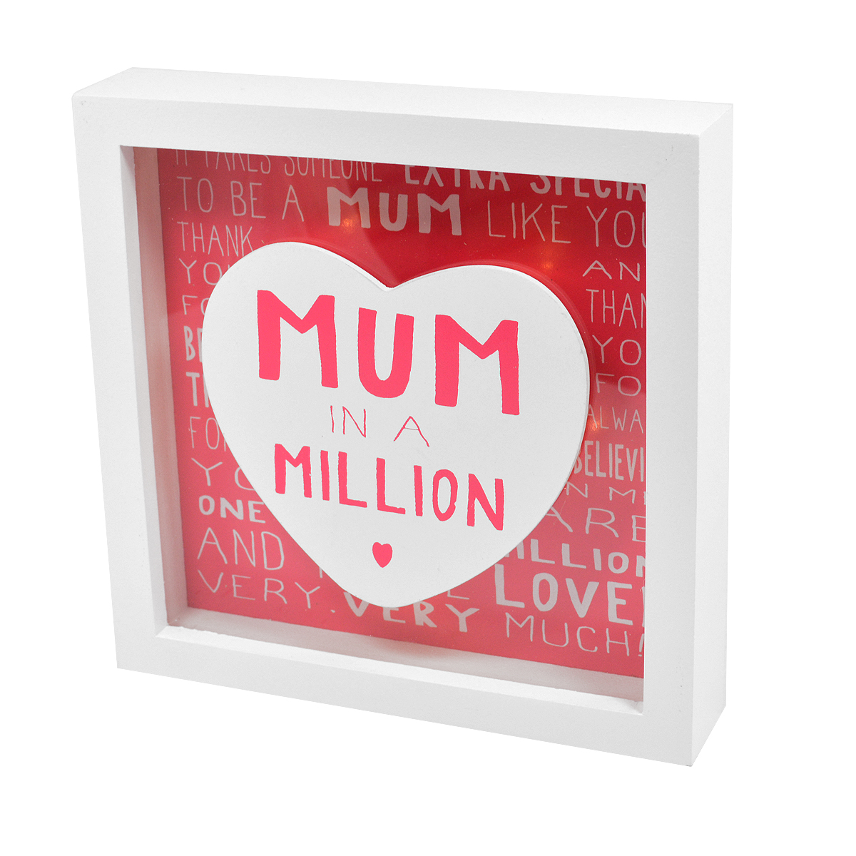 Message Of Love Mum In A Million Light Up Box Frame | Gifts