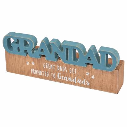 Grandad Sentiments From The Heart Word Block Plaque