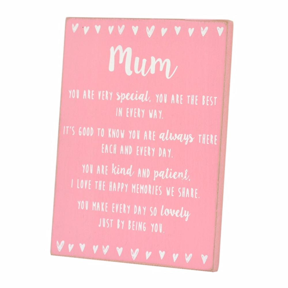 Special Mum Sentiments From The Heart Freestanding Wooden Plaque