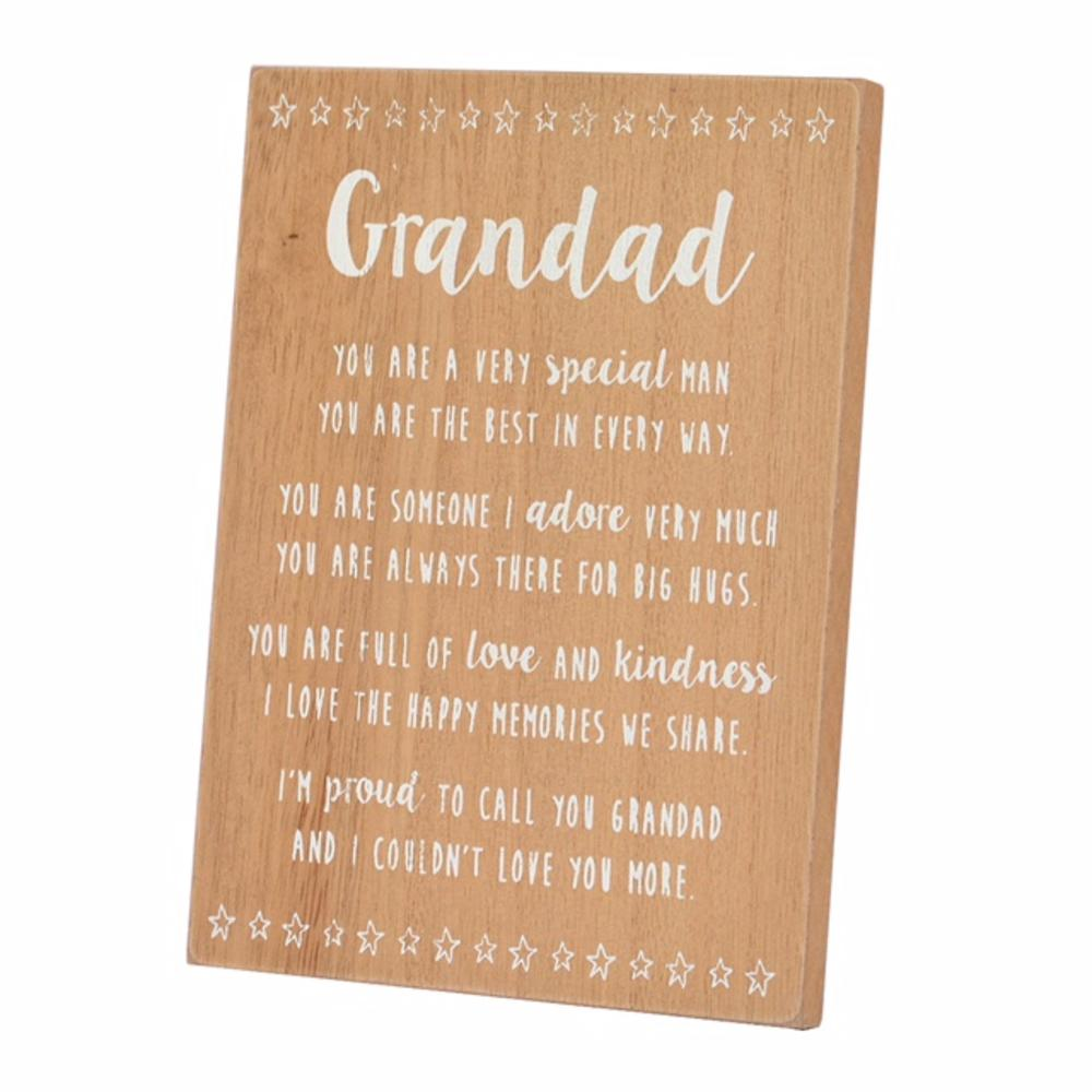 Special Grandad Sentiments From The Heart Freestanding Wooden Plaque