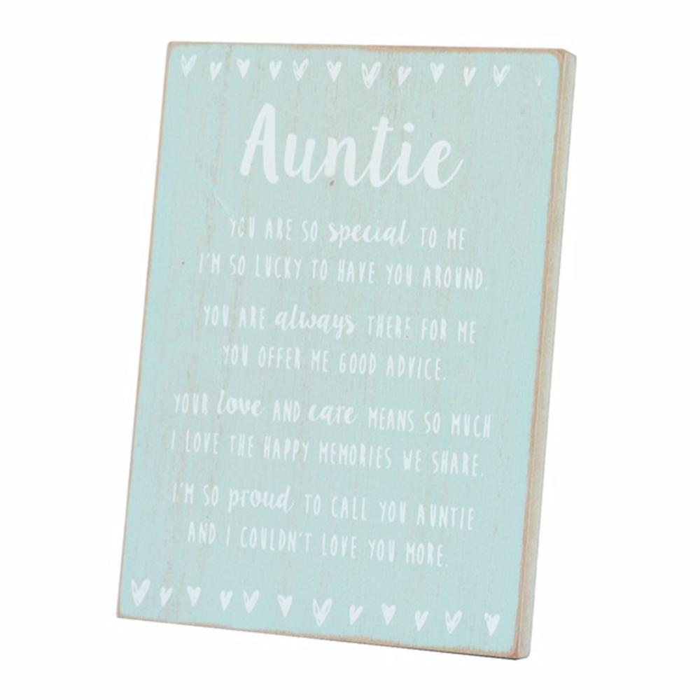Special Auntie Sentiments From The Heart Freestanding Wooden Plaque