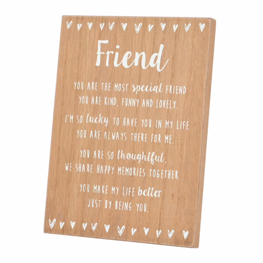 Special Friend Sentiments From The Heart Freestanding Wooden Plaque