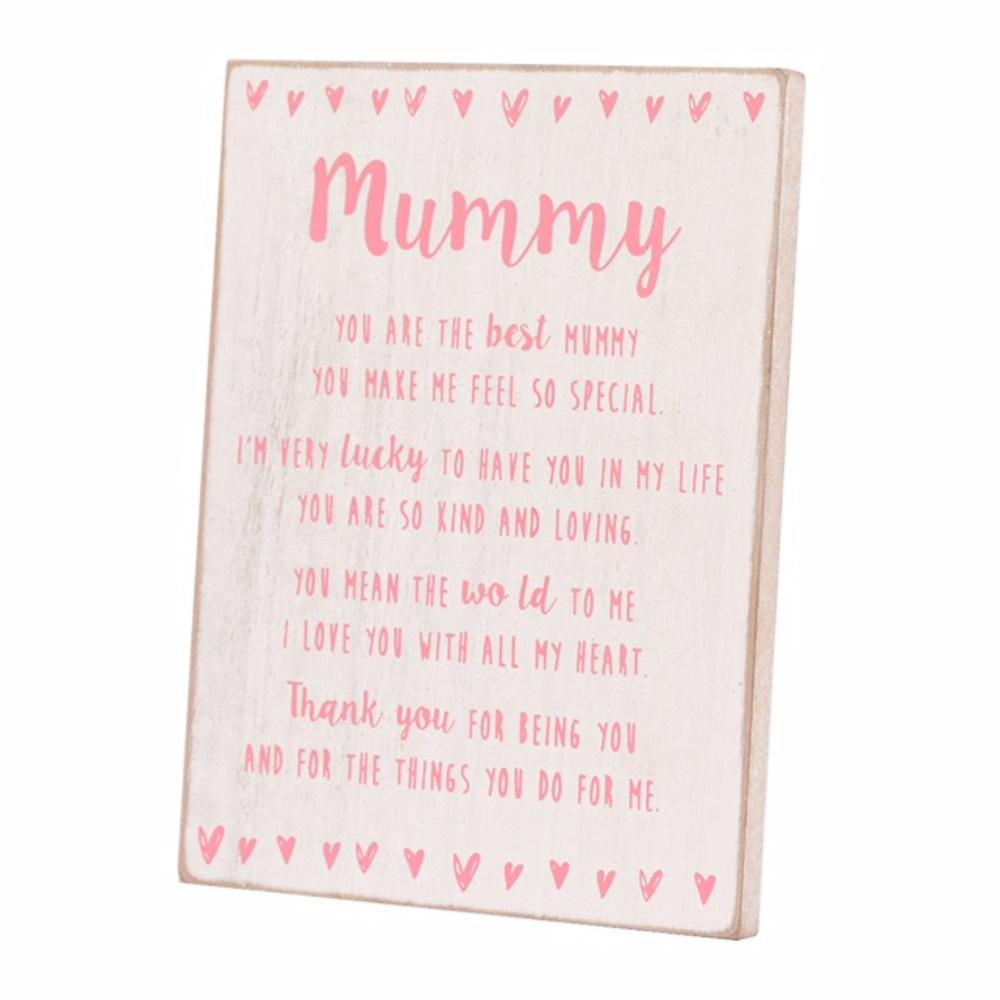 Special Mummy Sentiments From The Heart Freestanding Wooden Plaque