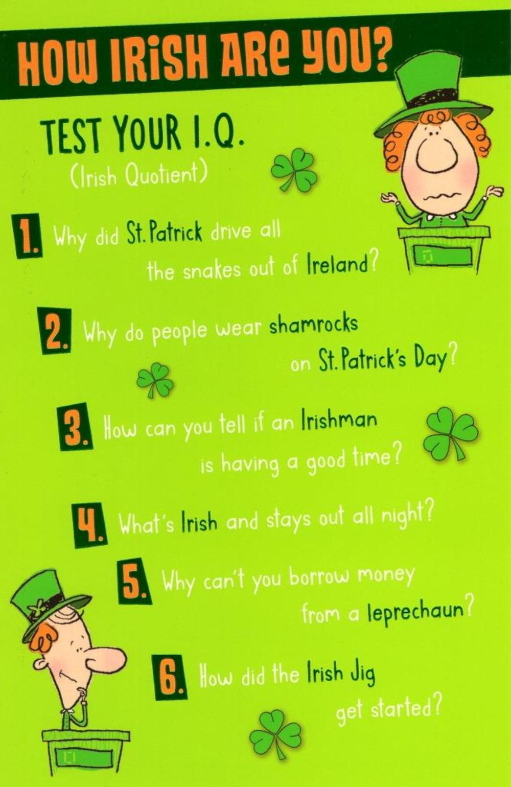 Funny St Patrick's Day IQ Test Greeting Card
