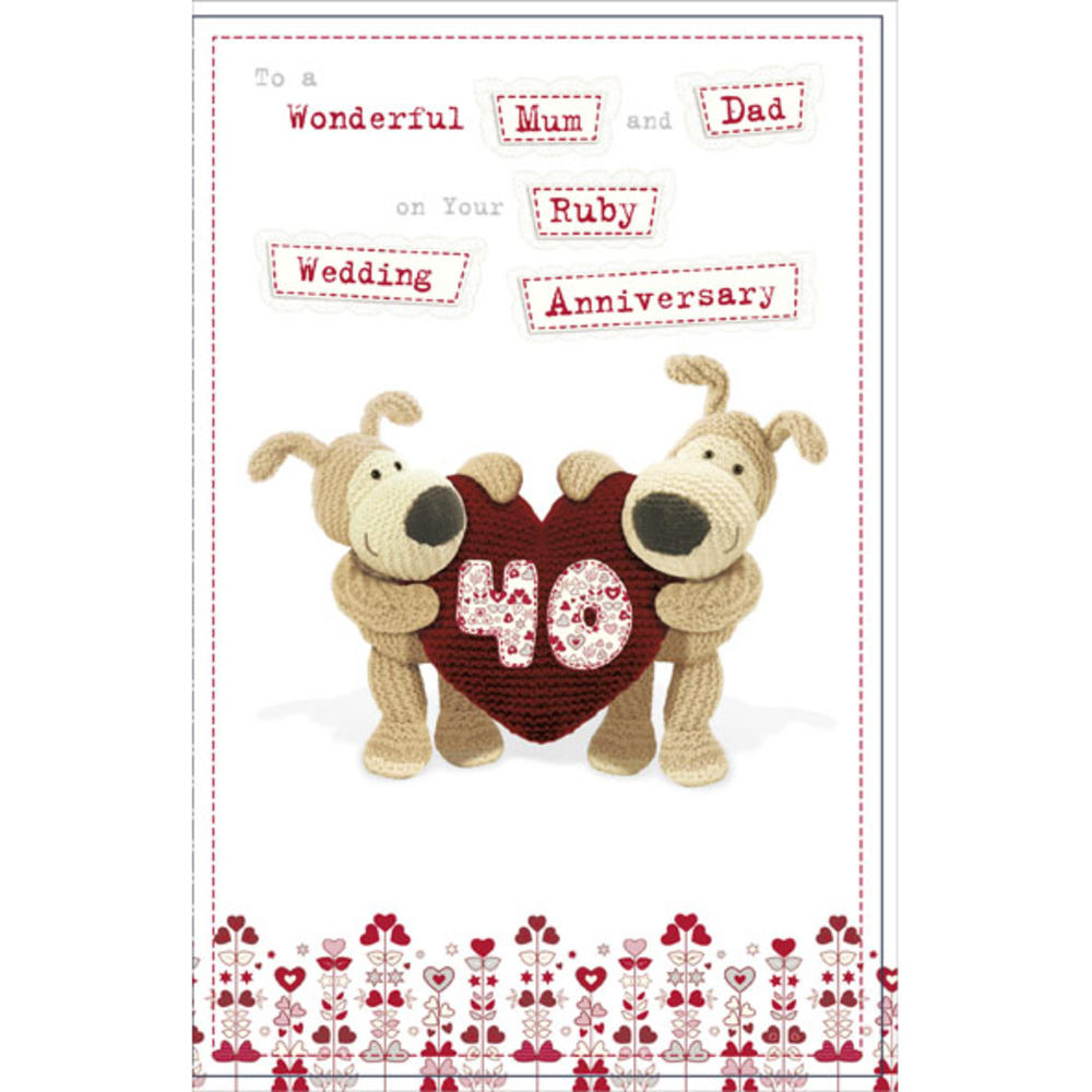 Boofle mum dad ruby wedding anniversary card cards