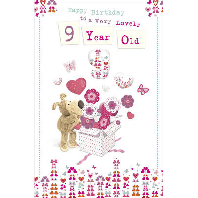 Boofle Lovely 9 Year Old Birthday Greeting Card