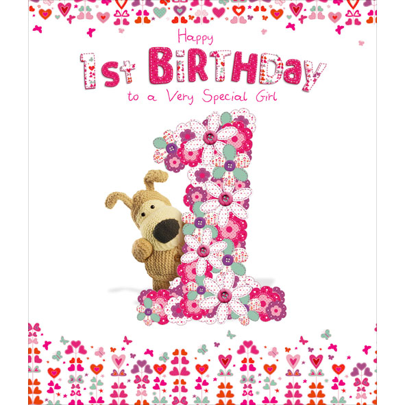 Images Of Vintage Girls First Birthday Card: Boofle Happy 1st Birthday Greeting Card