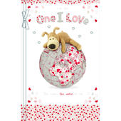 Boofle One I Love Embellished Birthday Greeting Card