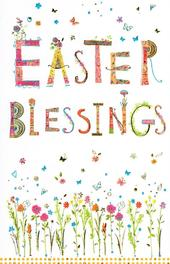 Easter Blessings Pretty Religious Greeting Card