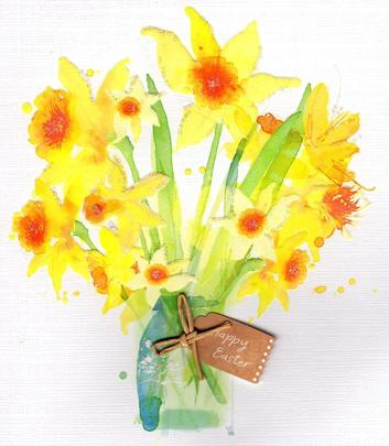 Painted Daffodil Pretty Happy Easter Greeting Card