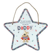 Boofle Superhero Daddy Hanging Wooden Plaque
