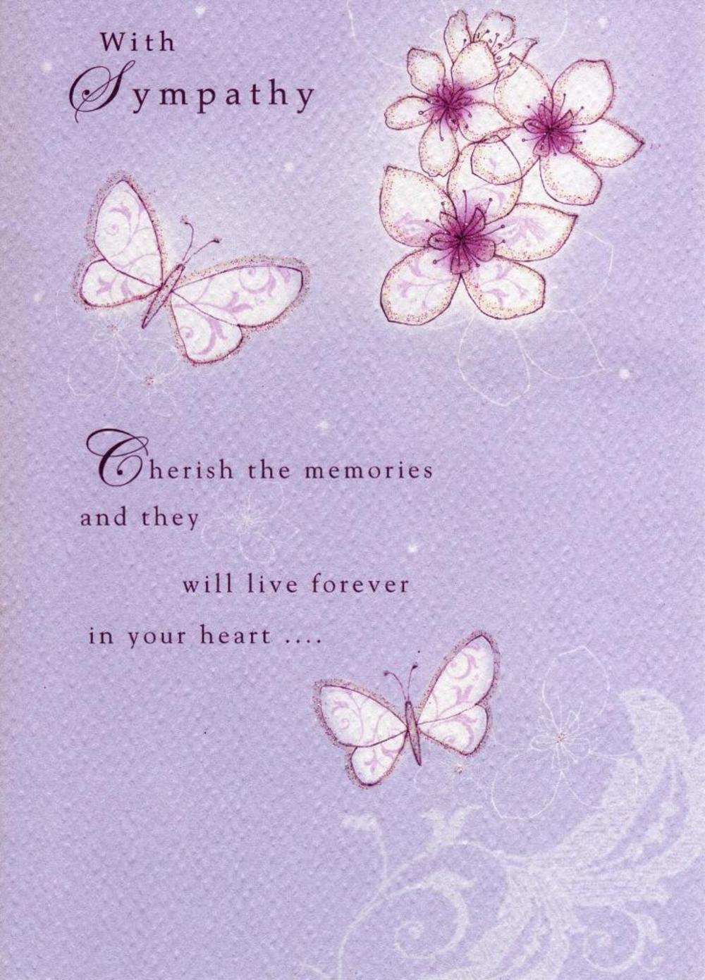 With Sympathy Glitter Flittered Greeting Card