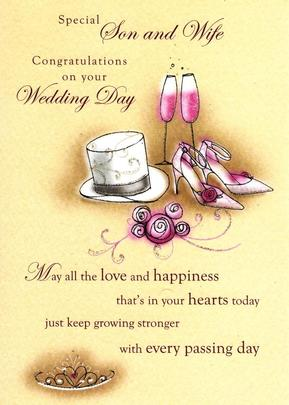 Son & Wife On Your Wedding Day Greeting Card
