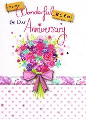 Wife On Our Anniversary Glitter Flittered Greeting Card