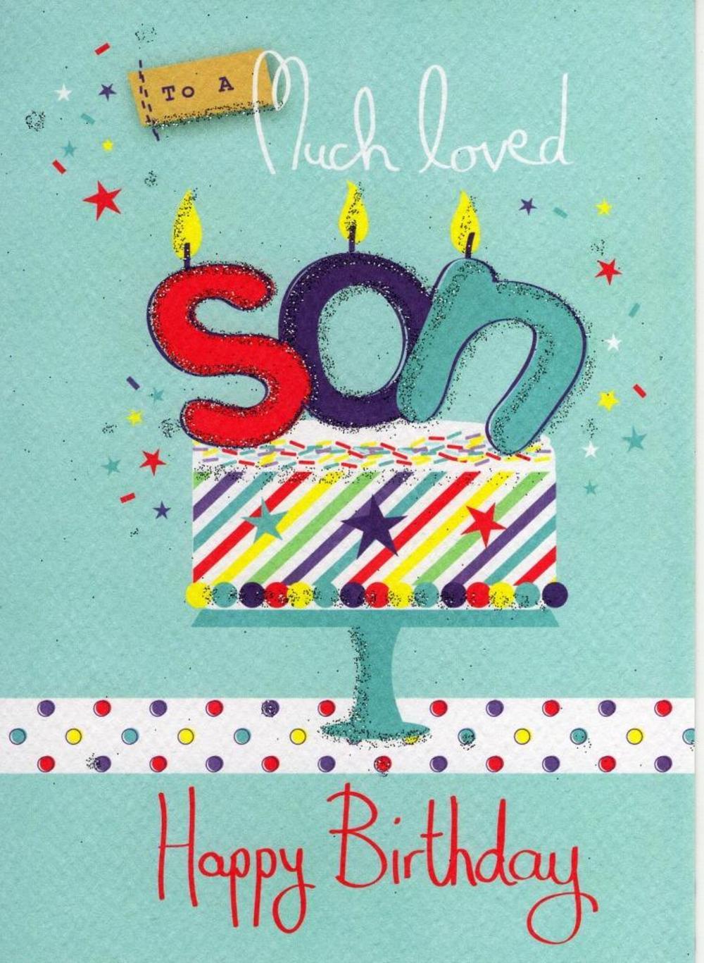 Son Happy Birthday Glitter Flittered Greeting Card