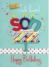 Son Happy Birthday Glitter Flittered Greeting Card