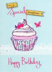 Special Daughter Birthday Glitter Flittered Greeting Card