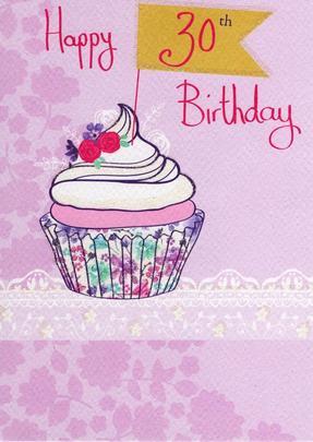 Happy 30th Birthday Glitter Flittered Greeting Card