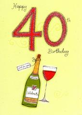 Happy 40th Birthday Glitter Flittered Greeting Card