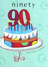 Happy 90th Birthday Glitter Flittered Greeting Card
