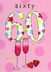 Happy 60th Birthday Glitter Flittered Greeting Card
