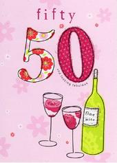 Happy 50th Birthday Glitter Flittered Greeting Card