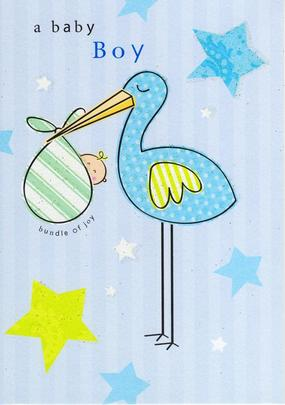New Baby Boy Glitter Flittered Greeting Card