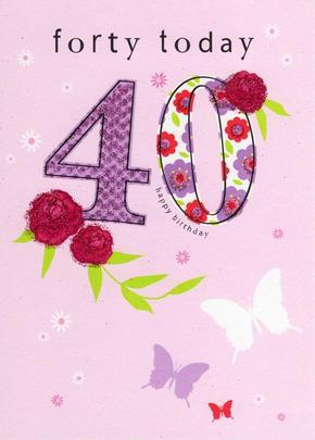 Happy 40th Birthday Glitter Flittered Greeting Card