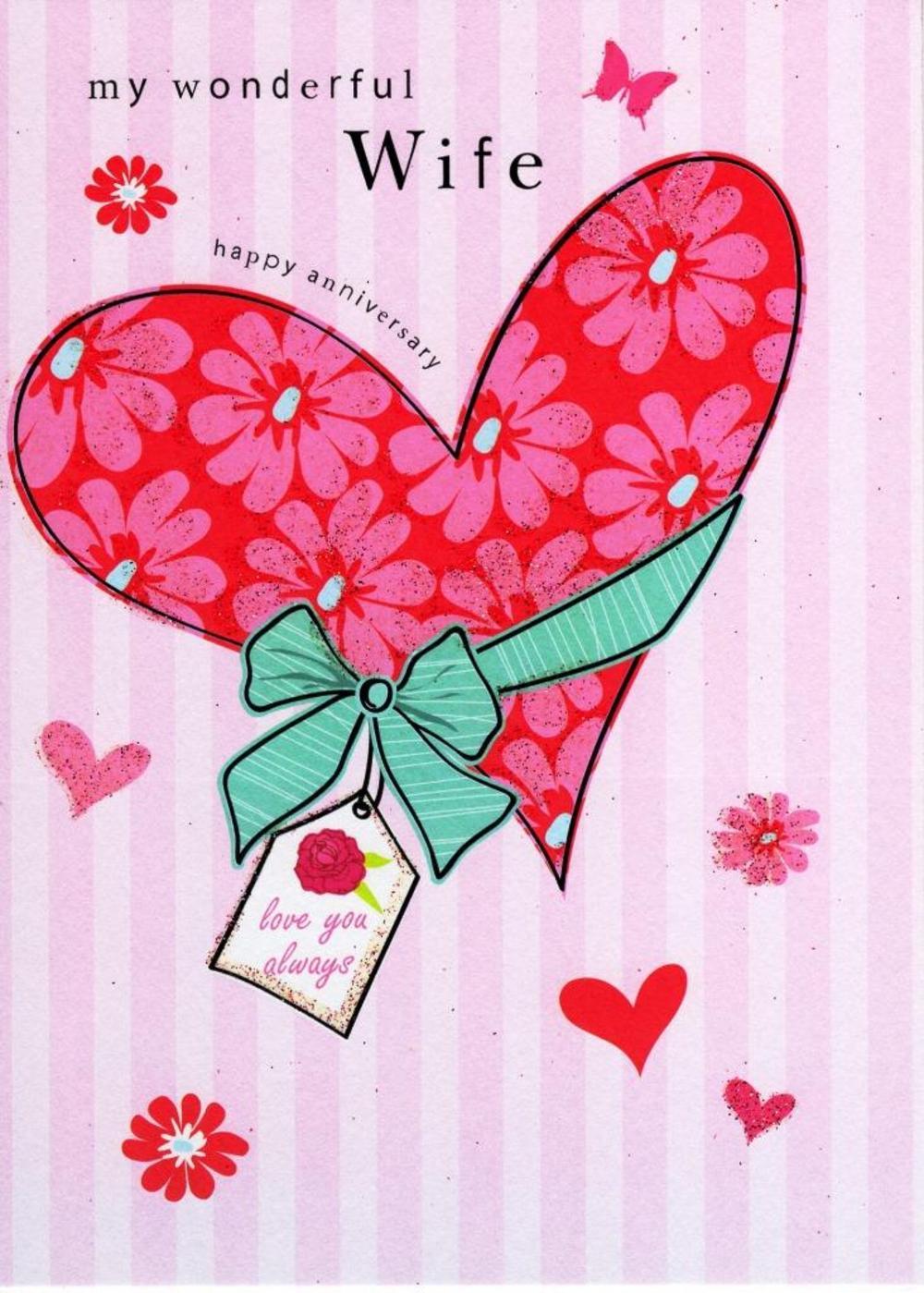Wife Anniversary Glitter Flittered Greeting Card