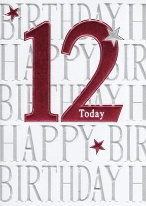 Happy 12th Birthday Foiled Greeting Card