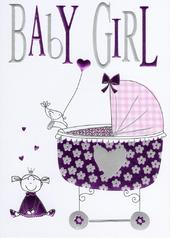 New Baby Girl Foiled Greeting Card