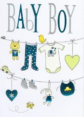 New Baby Boy Foiled Greeting Card