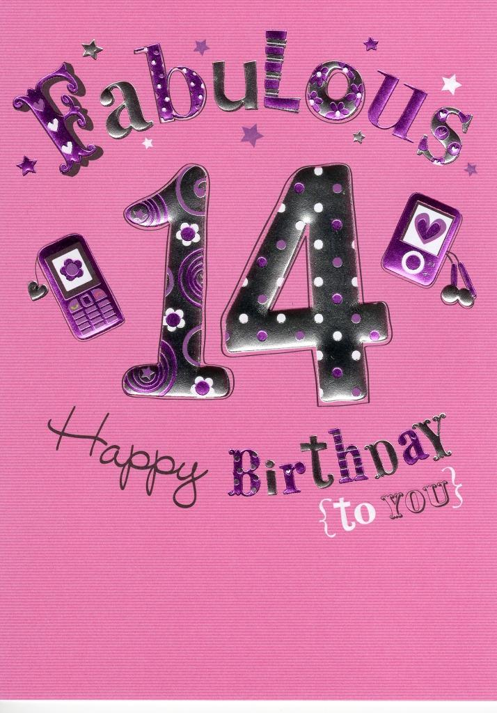 Happy 14th Birthday Foiled Greeting Card | Cards | Love Kates