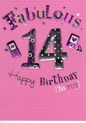 Happy 14th Birthday Foiled Greeting Card