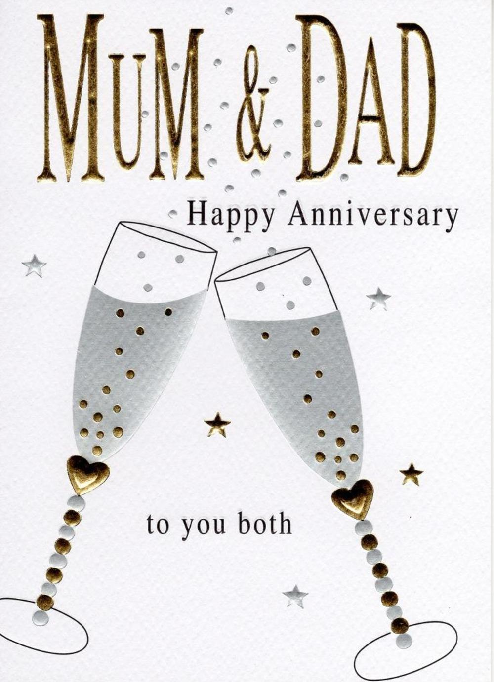 Mum & Dad Anniversary Foiled Greeting Card