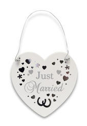 Just Married Wooden Hanging Heart Plaque Gift