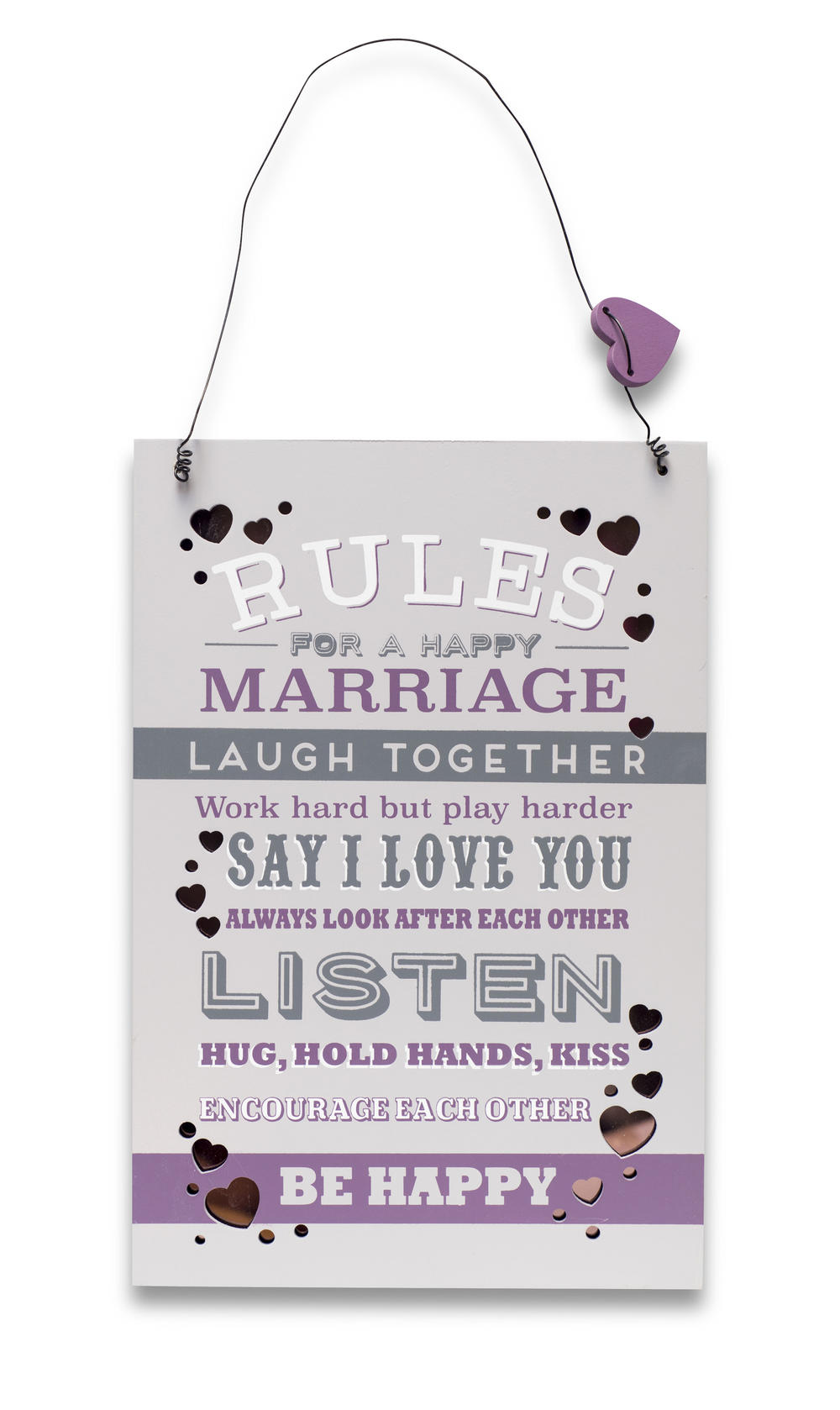 Marriage Rules Wooden Hanging Plaque Wedding Gift