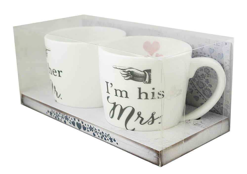 I'm Her Mr & I'm His Mrs Pair Of Wedding Mugs In Gift Box