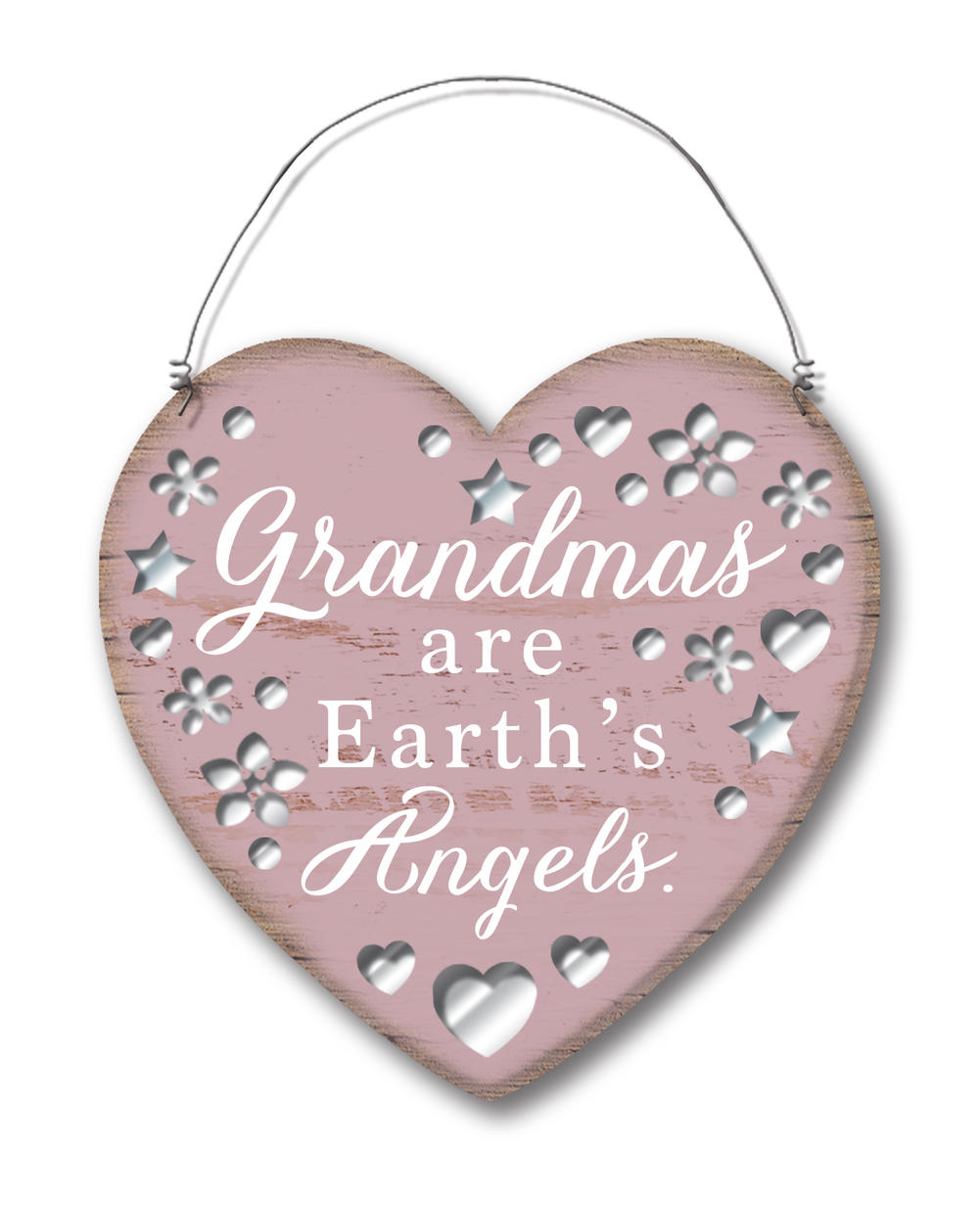 Grandma's Are Earth's Angels Hanging Heart Plaque