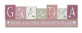 World's Best Grandma Wooden Standing Block Plaque