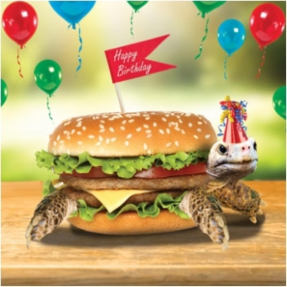 3D Holographic Tortoise Burger Birthday Card